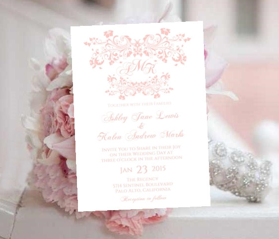 Wedding Invitation Template Printable Monogram Blush Pink Fleurs - Wedding invitation templates: free editable wedding invitation templates