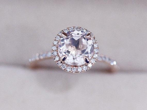 Engagement Ring Vs Wedding Ring Wedding VS 7mm Round Morganite Ring Engagement Ring Pink Morganite