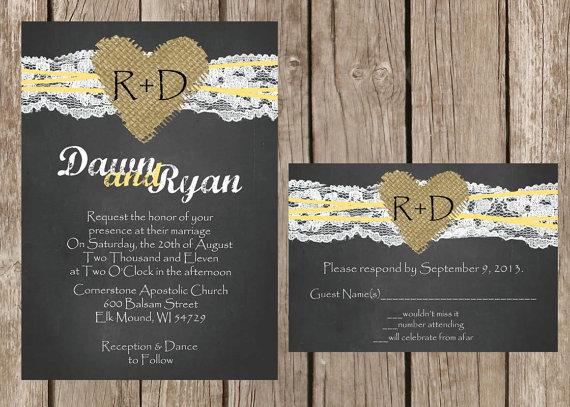 Свадьба - Chalkboard Wedding Invitation, Rustic Wedding Invitation, Lace Wedding Invitation, Burlap Wedding Invitation