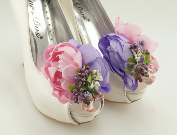 Wedding - Vintage inspired bridal shoe clips satin bridal shoe clips shoe jewelry flower shoe clips bridal shoe clips