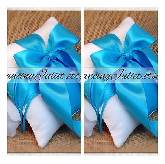 Mariage - Romantic Satin Mini Size Ring Bearer Pillow...You Choose the Colors...SET OF 2... shown in white/turquoise