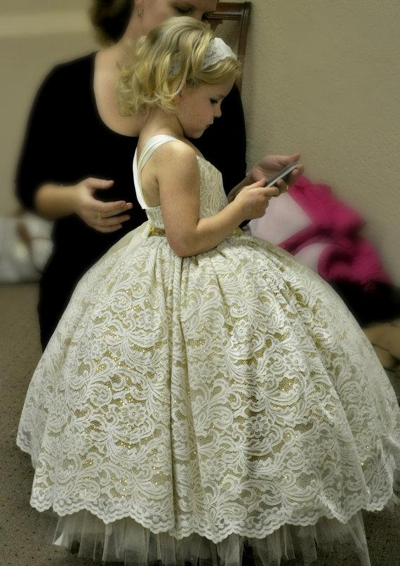 Flower Girl Dress, Lace And Gold Sequin Ivory Tutu Dress, Lace ...