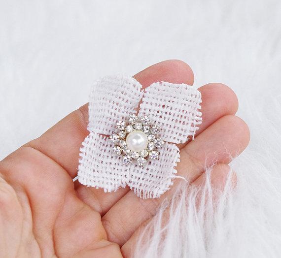 Mariage - Burlap Rhinestone Pearl Brooch Flower Wedding Hair Pin Decoration - Crystal Head Pin Clip