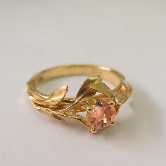 Hochzeit - Leaves Engagement Ring No. 4 - 14K Gold and Tourmaline engagement ring, engagement ring, leaf ring, filigree, antique, art nouveau, vintage