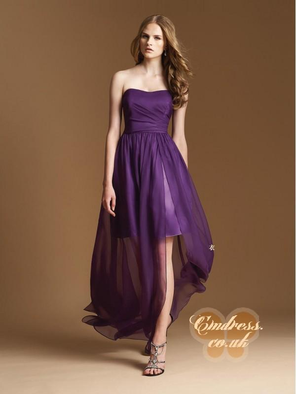 Wedding - A-line Chiffon Strapless Natural Waist Floor-Length Zipper Sleeveless Ruching Grape Bridesmaid Dress