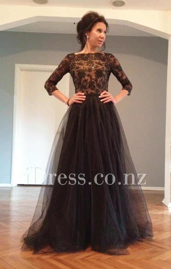 V Back Black Lace Bodice And Tulle Skirt Long Short Sleeve Prom