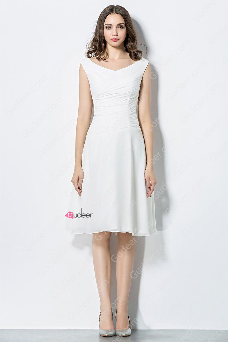 Nozze - Short V Neck Wide Strap Slim Fitted Beach Bridesmaid Dress