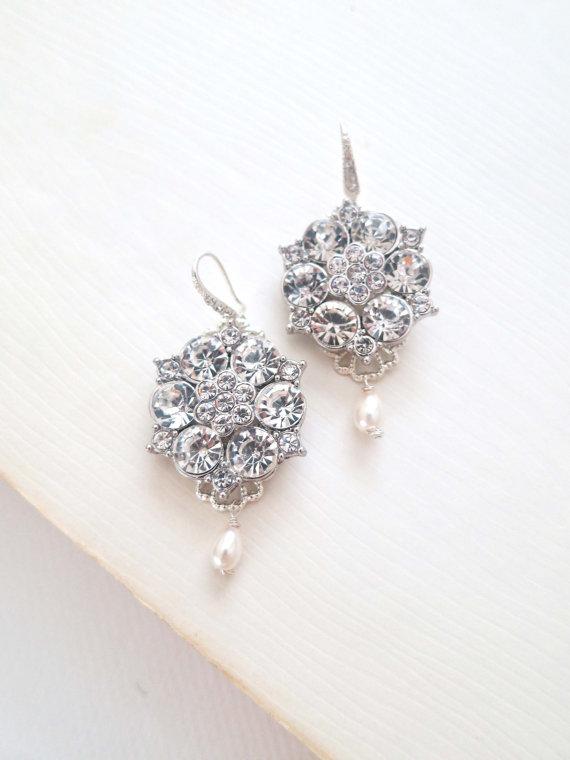 Mariage - Statement Bridal Earrings, Art Deco Bridal Earrings, Wedding Rhinestone Earrings, Pearl Drop Earrings, Chandelier Earrings, CHLOE