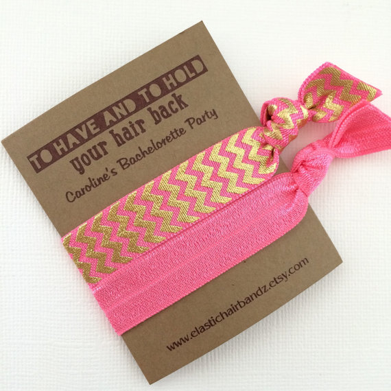 Mariage - Custom Bachelorette Party Favors/Gifts - Foil Chevron - To Have and to Hold Your Hair Back - Choose your color