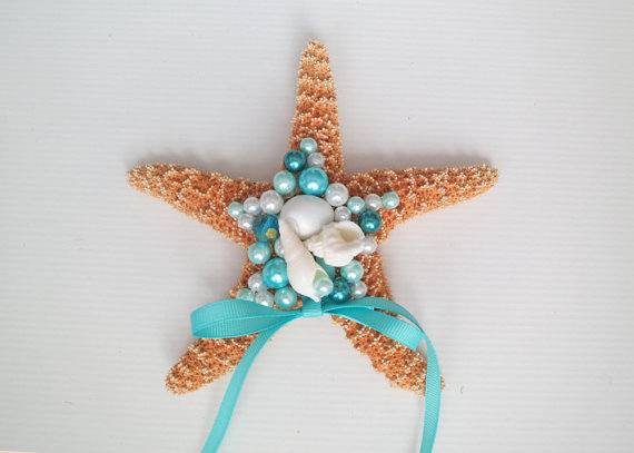 Hochzeit - Beach Wedding Ring Bearer-Sea Star Ring Bearer- Beach Wedding Ring Pillow-Mermaids Ring Holder- Ring Pillow Alternative-Starfish Ring Bearer