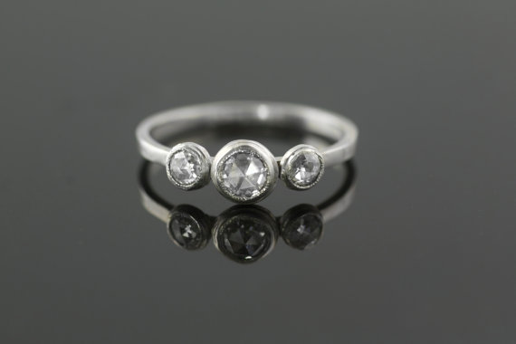 Wedding - Platinum and Rose Cut Diamond Engagement Ring Ethical and Recycled