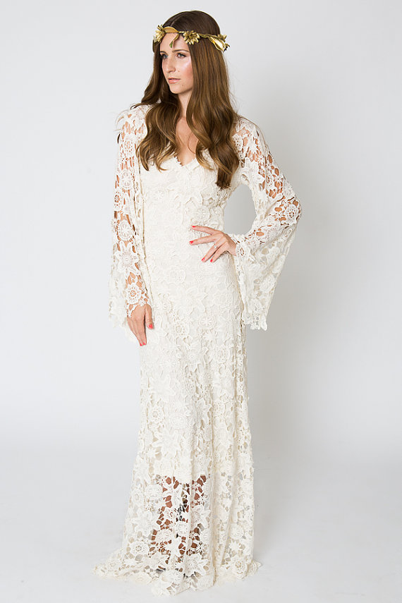 Vintage inspired bohemian wedding gown bell sleeve lace for Lace maxi wedding dress
