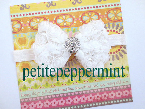 Mariage - Baby Headband, Baby flower headband - White Baby Bow Headband fit infant and toddler