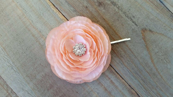 Mariage - Bridal Peach Flower Hair Clip Flower Fascinator Ranunculus Wedding Accessory Bridesmaid Hair Piece Rhinestone Crystal Floral Brooch Pin