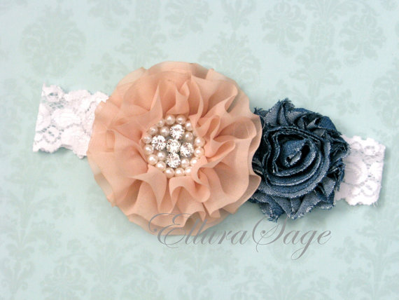 Mariage - Denim Lace Headband, Country Chic Lace Headband, Country Wedding Flower Girl Headband, Western Flower Girl Headband, Chiffon and denim lace