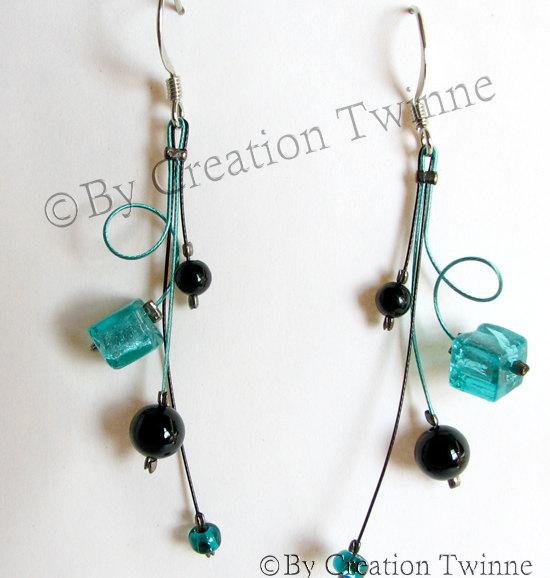 Hochzeit - turquoise black swirls earrings, mother gift, christmas gift idea, bridesmaids earrings, wedding jewelry, funky handmade earrings
