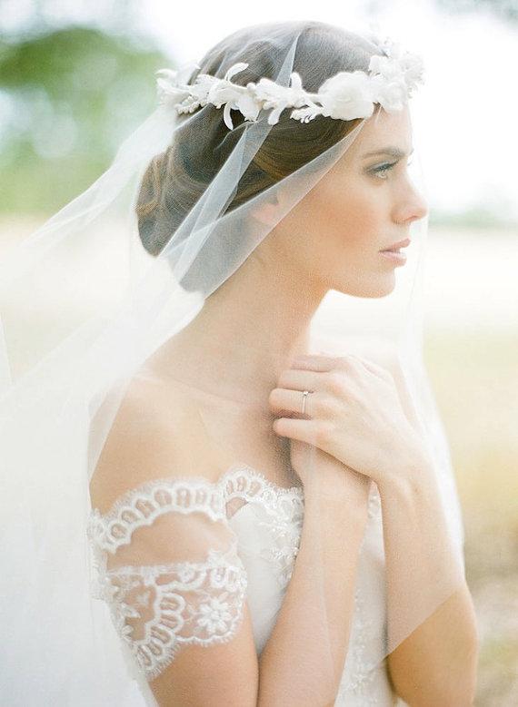 Свадьба - BLAIR Bridal drop veil, fingertip wedding veil in ivory or white