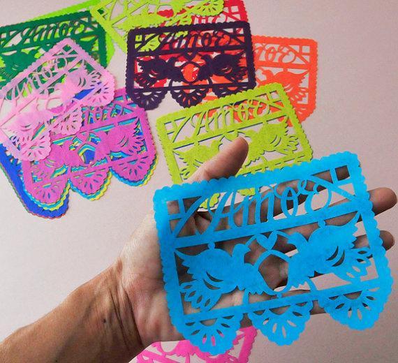 papel picado wedding invitation inserts embellishments mixed brights ready made - Papel Picado Wedding Invitations