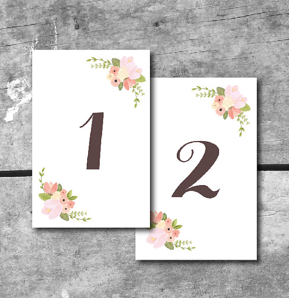 instant download rustic floral table numbers printable wedding