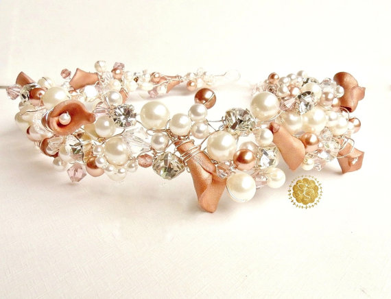 Mariage - Bridal Hair Piece, Wedding Headband, Hair Accessories, Bridal Headband, Rose Gold Headband, Pearl Rhinestone Headband
