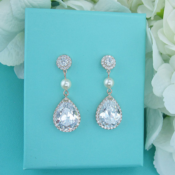 Mariage - Pearl cz rose gold earrings, rose gold cubic zirconia earrings, wedding jewelry, bridal jewelry, wedding earrings, bridal earrings