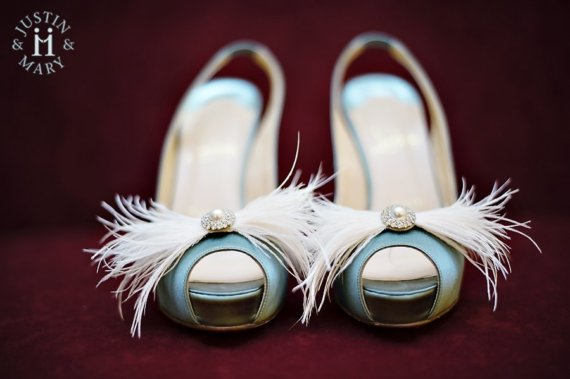 """Hochzeit - Featured in Martha Stewart Weddings-Feathers&Frills """"Bow"""" rhinestone/pearl and ostrich feather Shoe Adornments- custom made to order"""