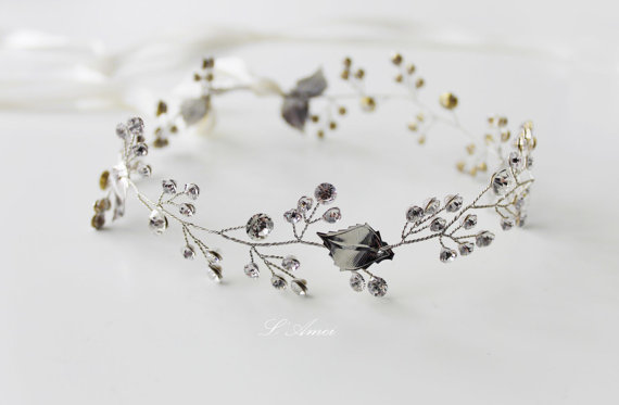 Свадьба - Hand made Silver color leaves Wedding Hair Accessories, Rhinestone Bridal Headband,  crystal Bridal Wreath