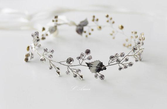 Mariage - Hand made Silver color leaves Wedding Hair Accessories, Rhinestone Bridal Headband,  crystal Bridal Wreath