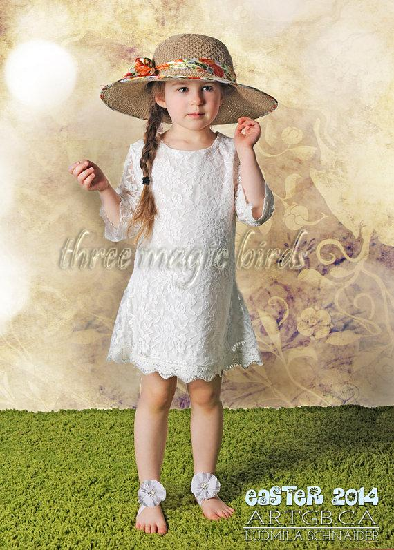 Mariage - SALE Lace Flower Girl Dress-Christening Birthday-Long Sleeve Flower Girl Dress-Country Flower Girl-Bridesmaid-Christmas-Winter Flower Girl