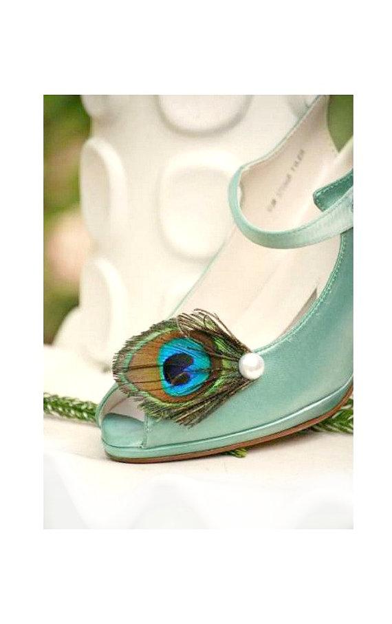 Mariage - Shoe Clips Peacock & Pearl / Rhinestone Gem. Statement Feminine Couture Wedding Clip, Teal Green Aqua Blue, Elegant Shabby Chic Bride Bridal
