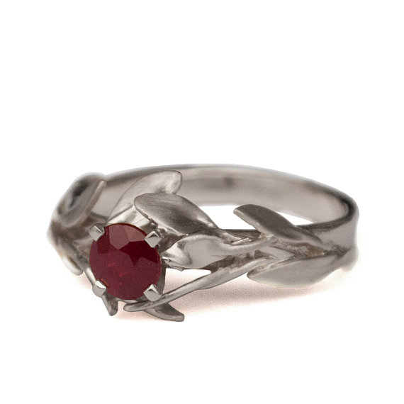 Mariage - Leaves Engagement Ring No.4 - 18K White Gold and Ruby engagement ring, engagement ring, leaf ring, antique, art nouveau, July Birthstone