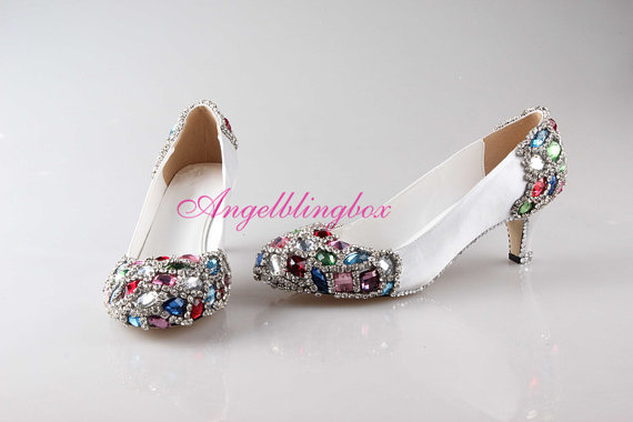 Свадьба - Handmade colorful crystal wedding shoes,Crystal wedding shoes,White bridal shoes, unique bling party shoes in 2014