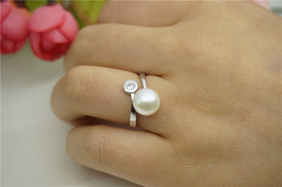 Mariage - Genuine Pearl ring,cz engagement rings,anniversary ring,cheap wedding rings for women,eternity ring,sterling silver 925 open ring jewellery