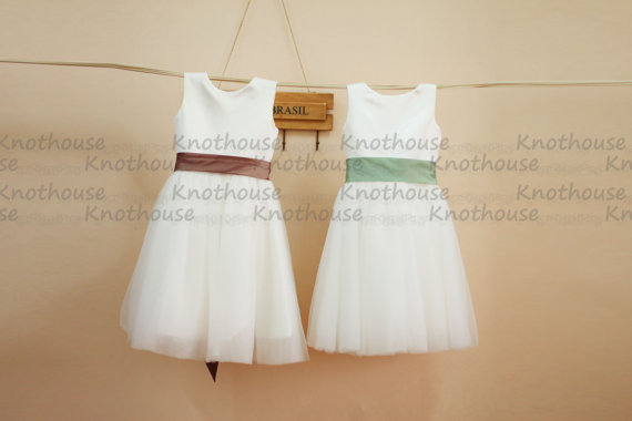 Düğün - Tulle Flower Girl Dress with Flower Sash Baby Girl Toddler Dress for Wedding