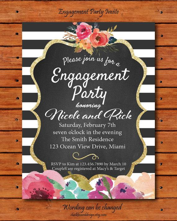 Rustic Flower Engagement Invite Engagement Party Invitation – Flower Party Invitations