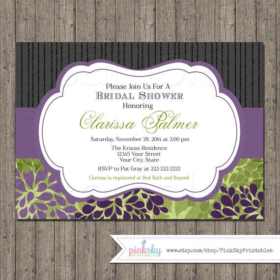 elegant bridal shower invitations printable floral bridal shower invitation purple and green black and purple wedding shower