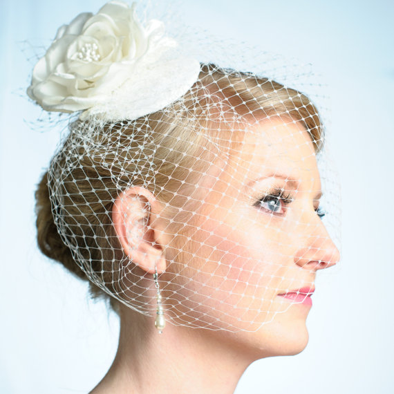 Hochzeit - Wedding Cocktail Hat with Birdcage Veil and Hand Pressed Silk Organza Flower and French Veiling Ivory Bridal Accessory