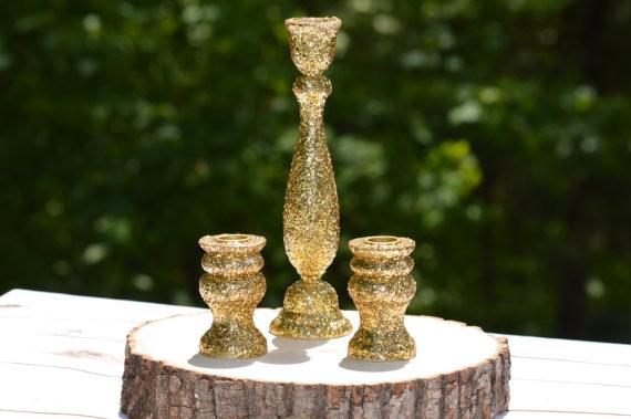 Hochzeit - Gold wedding unity candle holders , shabby chic unity candle set, rustic wedding decor, set of 3