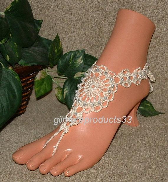 0cd6bdc5c09 Ivory Victorian Lace Crochet Barefoot Sandals