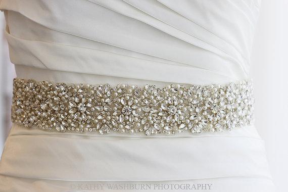 """Mariage - Luxury Bridal pearl crystal sash, 22"""" long x 2"""" wide crystal bridal belt, beaded wedding belt - KATE DELUX - ships in 1 week"""