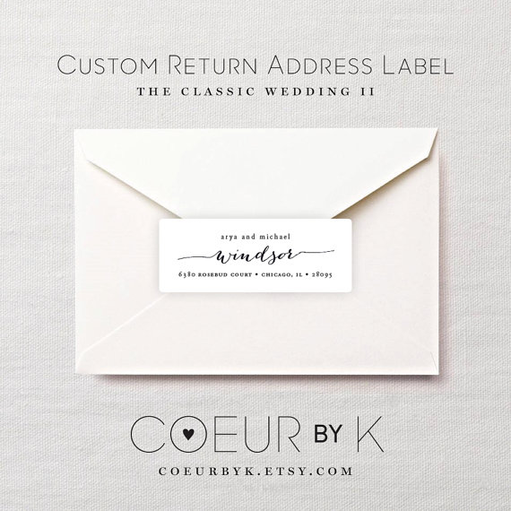 "Mariage - Custom Wedding Return Address Label - ""The Classic Wedding II"" Calligraphy Return Address Stickers"