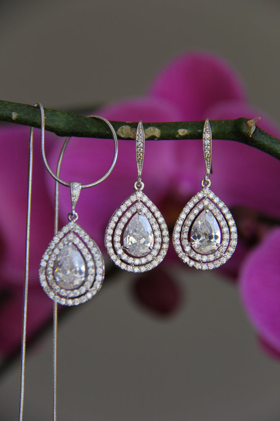 Mariage - Bridal jewelry set - necklace and earrings, wedding, CZ jewelry, wedding jewelry set, bridal jewelry set, bridal necklace, bridal earrings
