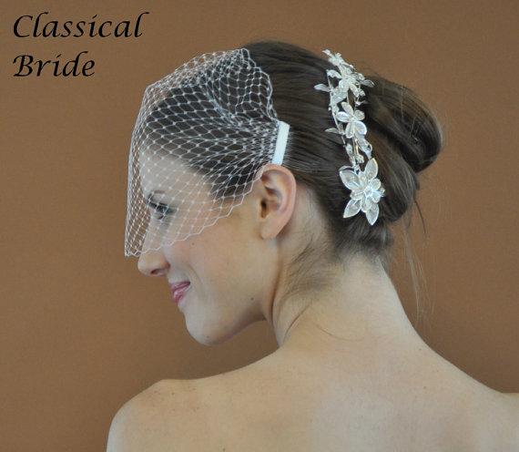 "Mariage - Bandeau 72 -- Veil Set w/ SILVER  RHINESTONE FLOWER Hair Comb & Ivory or White 9"" Birdcage Blusher Veil for wedding bridal accessory"
