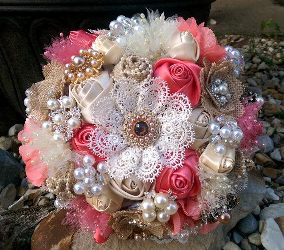 Custom Rustic Burlap And Lace Brooch Bouquet - Coral, Ivory ...