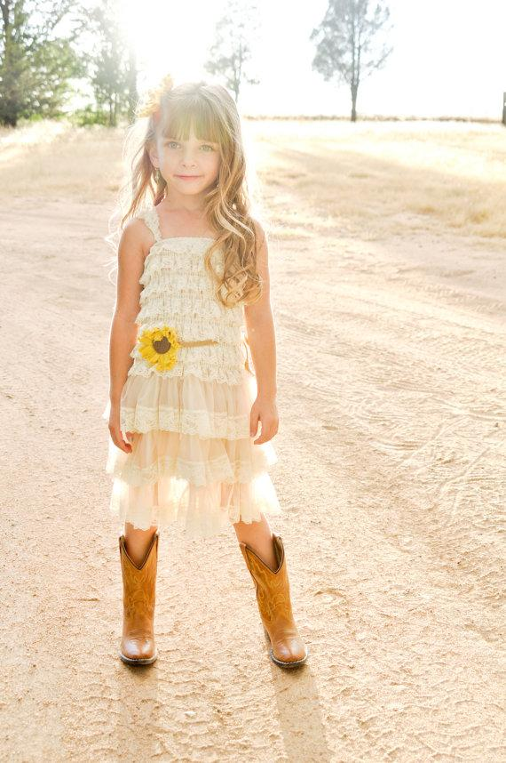 Sunflower flower girl dress sunflower wedding sunflower for Country wedding flower girl dresses