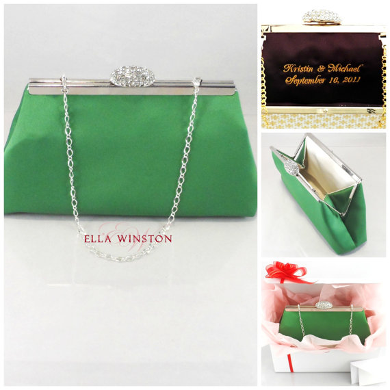 Personalized Gifts For Her Gift Ideas Winter Accessories Bridesmaid Gift Clutch Jade Green And Ivory Bridal Clutch Wedding Clutch 2288208 Weddbook
