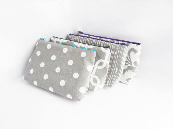 Mariage - Clutch purse set - Personalized Wet bags - Cosmetic Cases - Bridesmaid Clutches - Wedding Gifts