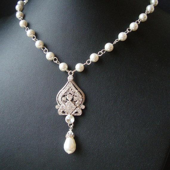 Wedding - Vintage Bridal Necklace, Wedding Jewelry, Pearl Necklace, Rhinestone Wedding Necklace, Art Deco Jewelry, JACQUELINE