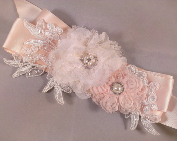 Champagne blush and ivory bridal sash belt with lace flowers
