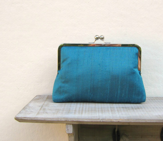 Свадьба - Teal clutch, teal bridal clutch, teal bridesmaids clutch, turquoise evening clutch, turquoise clutch purse, teal wedding, clutch uk